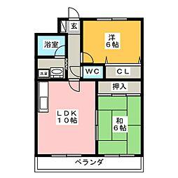 愛知県長久手市喜婦嶽の賃貸マンションの間取り