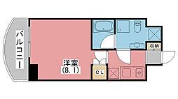クレストコート神戸・灘 4階1Kの間取り