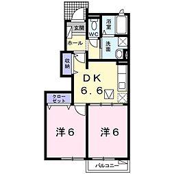 兵庫県明石市魚住町中尾の賃貸アパートの間取り