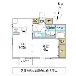 (仮)D-roomよしわら B 2階1LDKの間取り