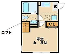 ソレイユ富士見 2階1Kの間取り