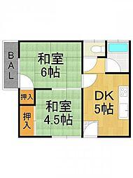中島マンション[201号室]の間取り