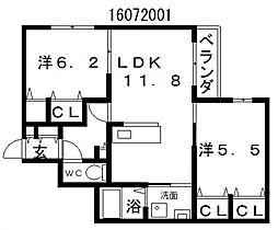 サザンコート1[3階]の間取り