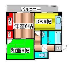大黒屋レヂデンスII[6階]の間取り