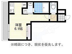 福岡市地下鉄空港線 大濠公園駅 徒歩5分の賃貸マンション 7階ワンルームの間取り