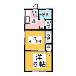 コーポワンウォークII[2階]の間取り