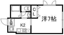 京都府京都市下京区二人司町の賃貸アパートの間取り
