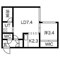 パインヒルズ円山[203号室]の間取り