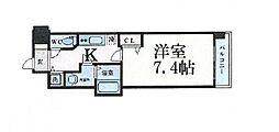 Osaka Metro谷町線 谷町四丁目駅 徒歩5分の賃貸マンション 4階1Kの間取り