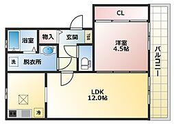 レフィナードカルチェA棟[1階]の間取り