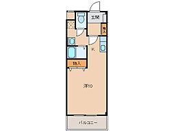 クレストモナーク 1階ワンルームの間取り