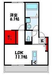 JR篠栗線 原町駅 徒歩20分の賃貸アパート 3階1LDKの間取り