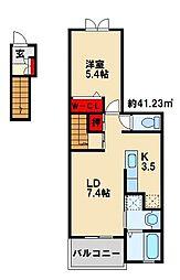 ラインハイム三萩野[2階]の間取り