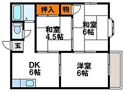 福岡県古賀市天神6丁目の賃貸アパートの間取り