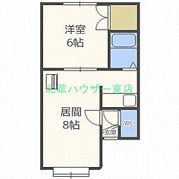 北海道札幌市東区北二十三条東18丁目の賃貸アパートの間取り