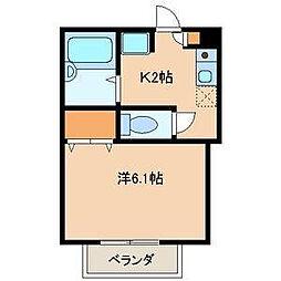 千葉県市川市鬼高3の賃貸アパートの間取り