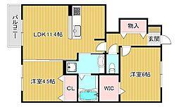 滋賀県近江八幡市加茂町の賃貸アパートの間取り