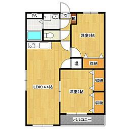 ガーデンハイム樗1番館[4階]の間取り