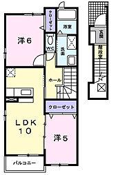 愛知県名古屋市守山区天子田2丁目の賃貸アパートの間取り
