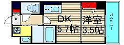 セルン新町 2階1DKの間取り