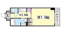 プラネソシエ神戸元町[504号室]の間取り