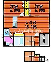 岡山県岡山市北区野田3丁目の賃貸アパートの間取り