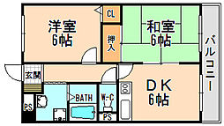 兵庫県伊丹市船原1丁目の賃貸マンションの間取り