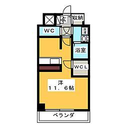 プレサンス THE 栄 12階1Kの間取り