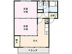 埼玉県熊谷市拾六間の賃貸マンションの間取り