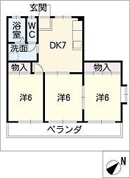 レインボー生川[2階]の間取り