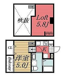 千葉県千葉市中央区弁天4丁目の賃貸アパートの間取り