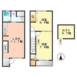 愛知県北名古屋市徳重北出の賃貸アパートの間取り