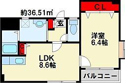 アンビエンス小倉駅前 7階1LDKの間取り