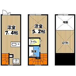 東京都八王子市山田町の賃貸アパートの間取り