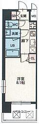 スプランディッド天王寺 5階1DKの間取り