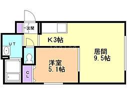 グリュックス・クレー平岸弐番館 4階1LDKの間取り