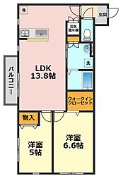 東京都江戸川区北小岩8丁目の賃貸マンションの間取り
