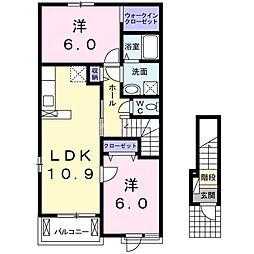 JR日豊本線 国分駅 徒歩9分の賃貸アパート 2階2LDKの間取り