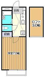 東京都東村山市諏訪町1丁目の賃貸アパートの間取り