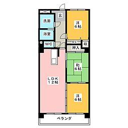 ハートウッド勝川[5階]の間取り