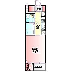 Osaka Metro谷町線 大日駅 徒歩5分の賃貸マンション 2階1Kの間取り
