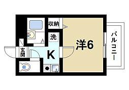 ラポール田井庄A 1階1Kの間取り