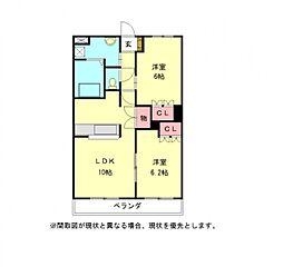 愛知県一宮市丹陽町外崎字郷の賃貸アパートの間取り