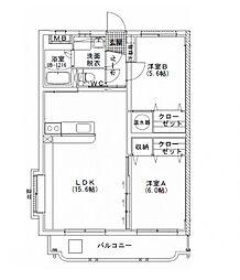 ユーミー須賀[201号室]の間取り
