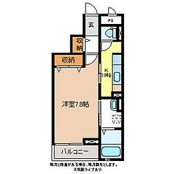 長野電鉄長野線 信濃吉田駅 徒歩5分の賃貸マンション 3階1Kの間取り