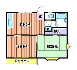 東京都日野市日野本町5丁目の賃貸アパートの間取り