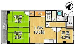 甲子園ハニーマンション[306号室]の間取り