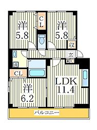 コンフォート新柏A棟[1階]の間取り