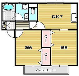 大阪府高槻市大冠町2丁目の賃貸アパートの間取り