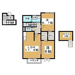 パセオプラシード成田B[2階]の間取り